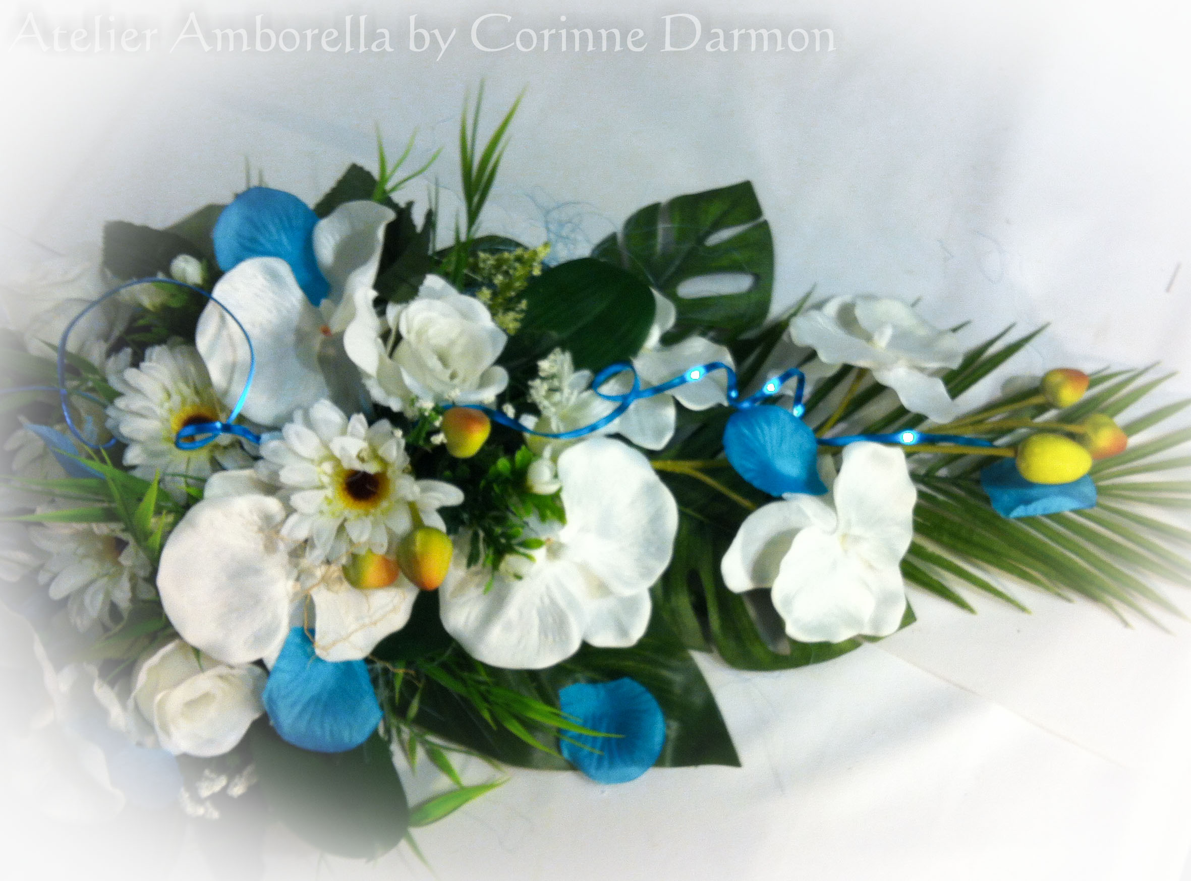 sk mariage fleurs artificielles bleu