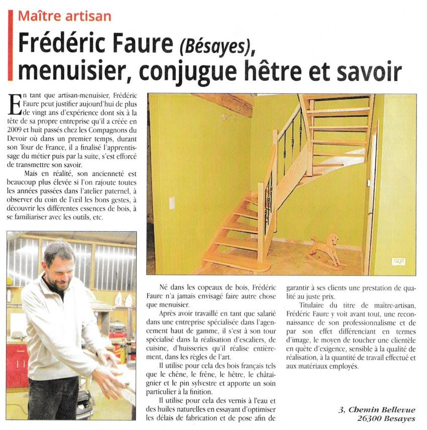 Frédéric Faure dans l'Echo, le Valentinois de novembre 2015