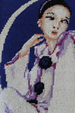 French Vintage Framed Needlepoint Tapestry Pierrot - Colombine Tapestry - 70s..