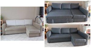 Vues avant après: canapé d'angle convertible beige souillé versus canapé plié et déplié dont le tissu a été changé sur l'intégralité par un tissu gris en coton et lin.