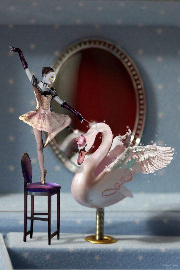 Tableau fantastique boite à musique cygne danseuse magie