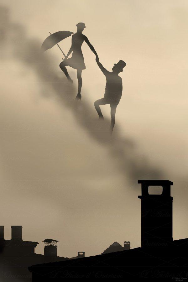Tableau fantastique mary poppins monte escalier fumée cheminées