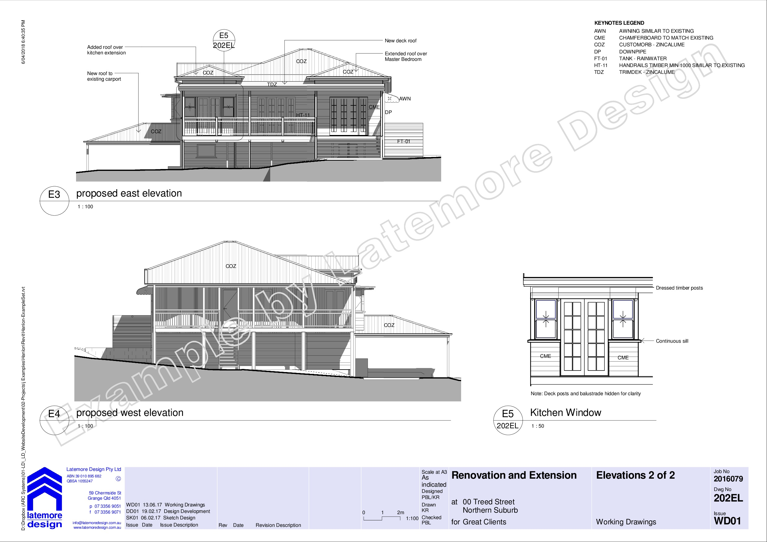 Latemore Design | Reno Extension 01 Example Working Drawings
