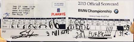 Golf_Records_Furyk's 59_fake scorecard_BMW Championship_FEDEX Cup_Rnd. 2_09-13-2013