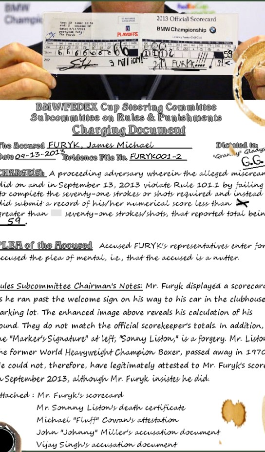 Sports - Golf Humor - Jim Furyk's 59 - Rules Subcommittee investigation evidence notes