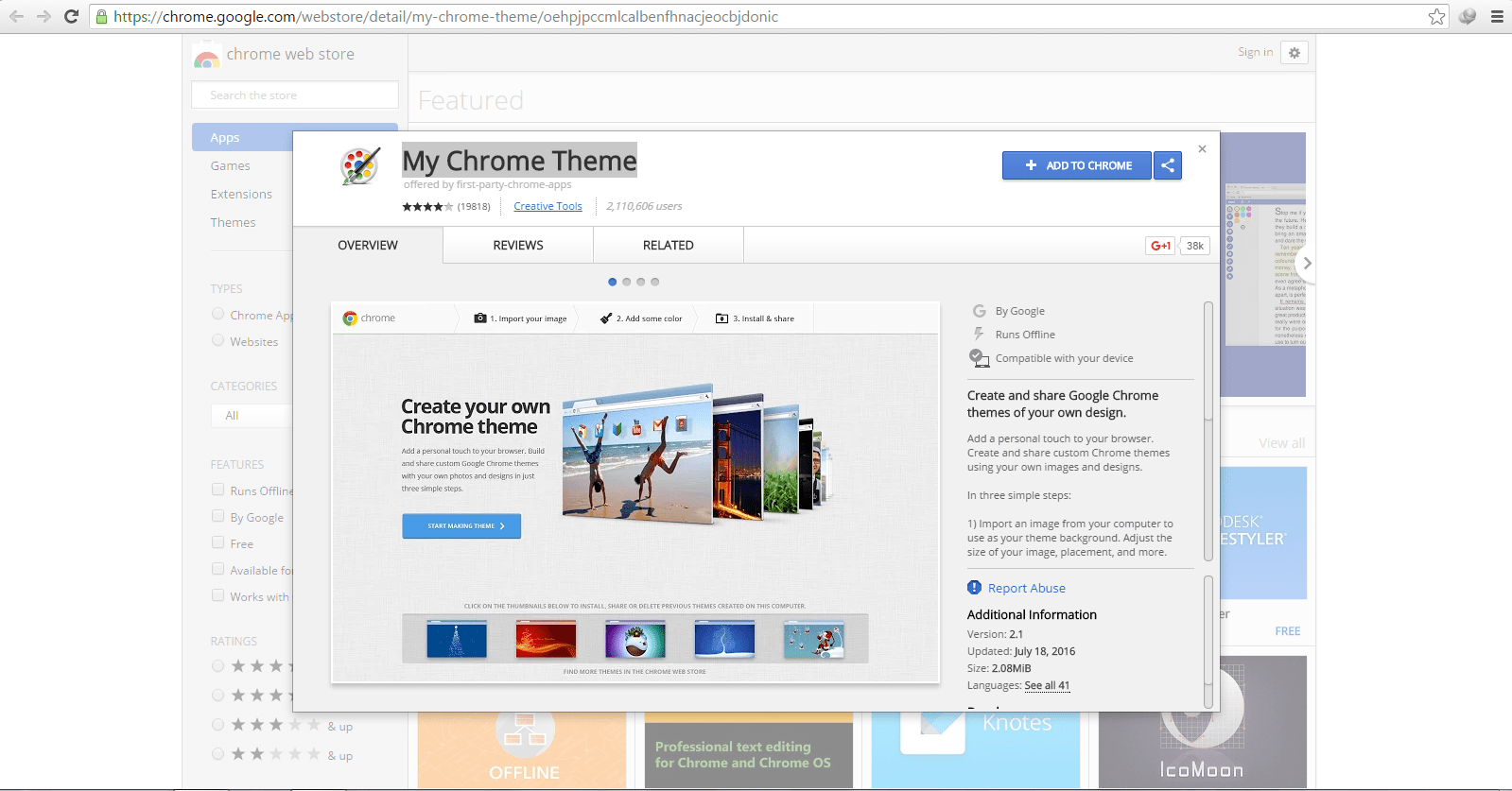 Google themes create your own - Capture