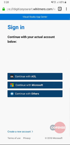 Phishing website on smartphone