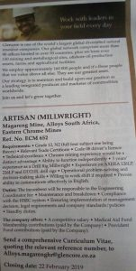 Glencore Mine – Artisan (Millwright) 1