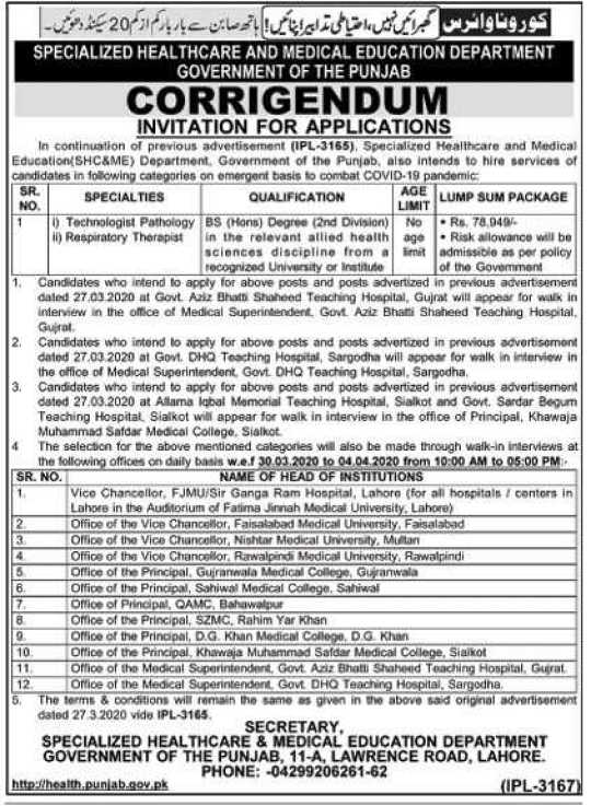 Jobs in Specialized Healthcare and Medical Education Department Punjab 2020 Apply Now