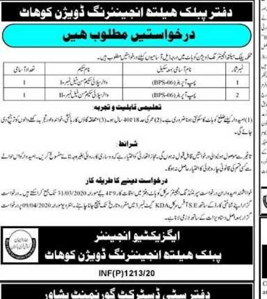 Jobs in Public Health Engineering Division Kohat 2020 Apply Now