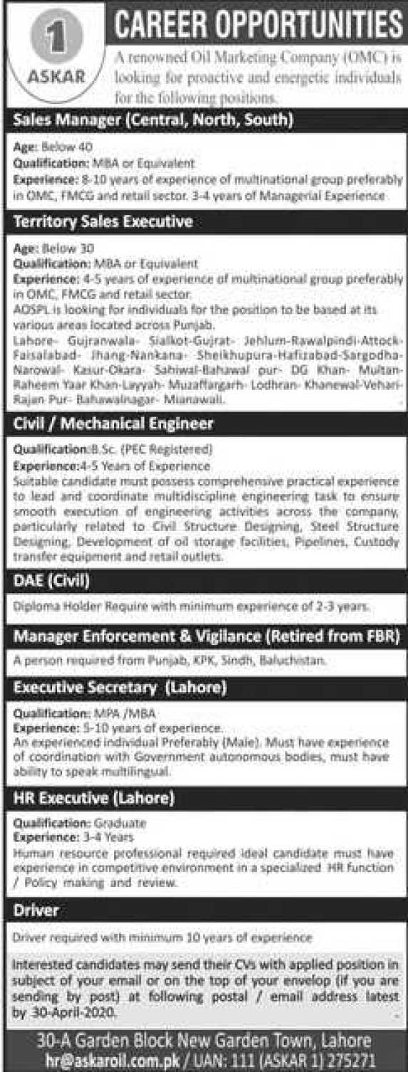 Jobs in Askar Oil 2020