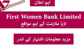 Jobs in First Women Bank Limited 2020