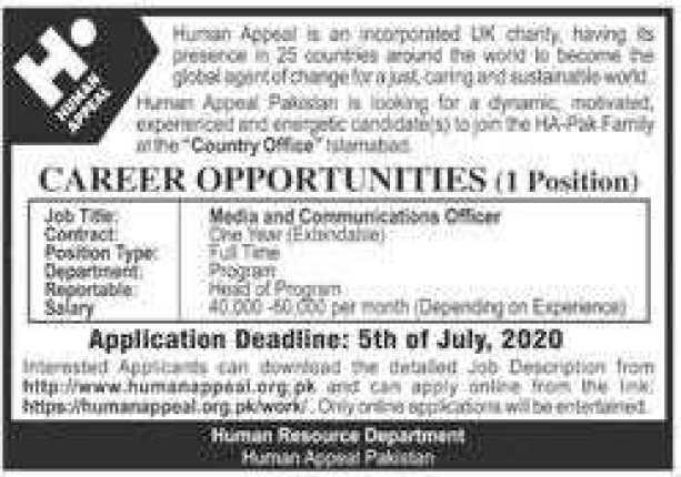 Human Appeal Pakistan Jobs 2020