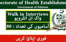 80 New Jobs in Directorate of Health Establishments Islamabad 2020