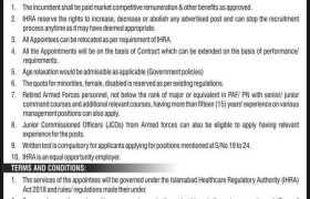 The Islamabad Healthcare Regulatory Authority (IHRA) Jobs 2020
