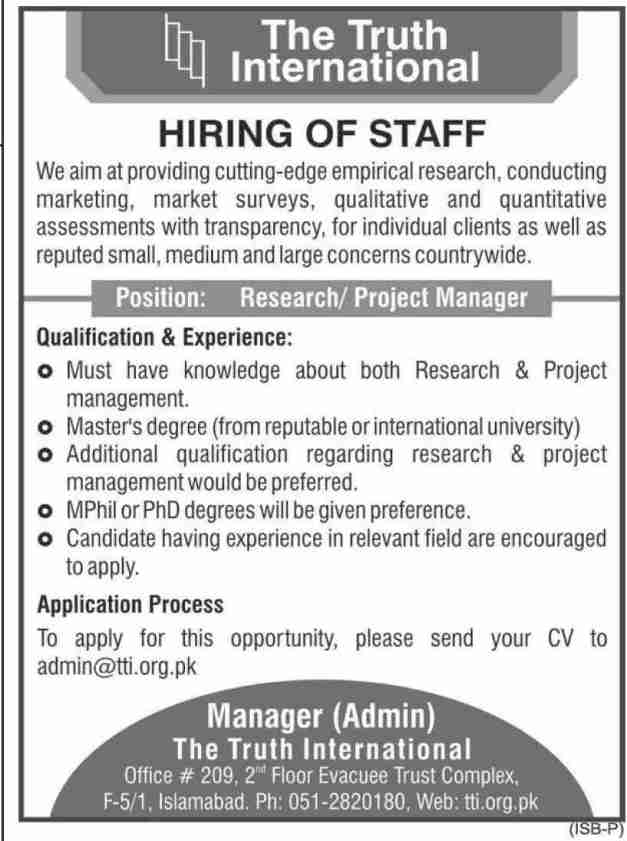 The Truth International Islamabad Jobs 2020