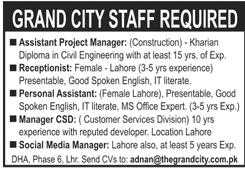 Staff Required at Grand City Lahore 2020