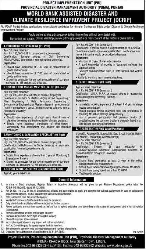 Provincial Disaster Management Authority (PDMA) Punjab Jobs 2020