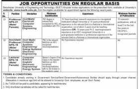 Balochistan University of Engineering and Technology (BUET) Khuzdar Jobs 2020