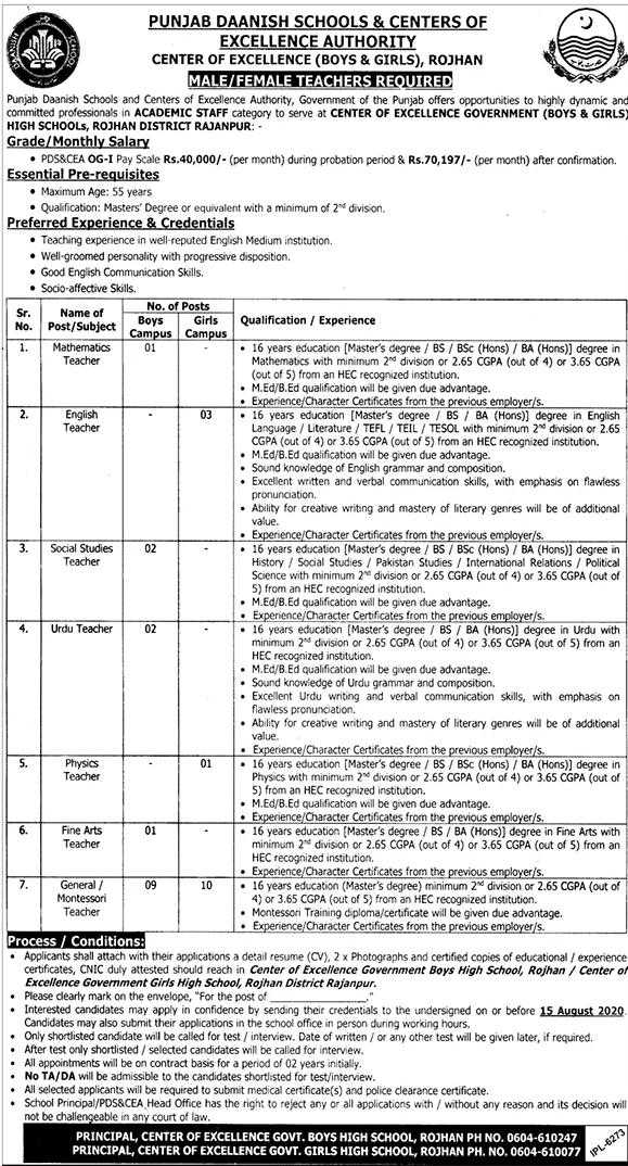 Punjab Daanish School & Centers of Excellence Authority Jobs 2020