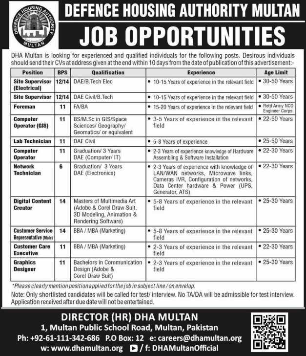 Defence Housing Authority Multan Jobs 2020