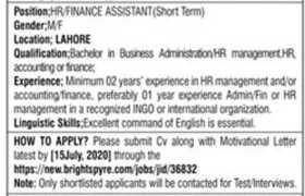 International Non-Government Organization Lahore Jobs 2020