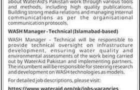 WaterAid Islamabad Jobs 2020