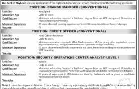 The Bank of Khyber New Jobs 2020