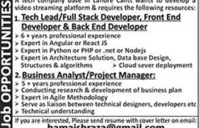 IT Technology Company Lahore Cantt Jobs 2020