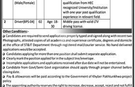 Science and Technology & Information Technology Department Khyber Pakhtunkhwa Jobs 2020