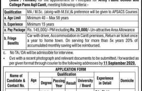 Army Public School & College Pano Aqil Cantt Jobs 2020