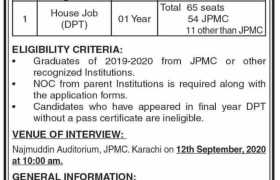 Jinnah Postgraduate Medical Centre Karachi Jobs 2020