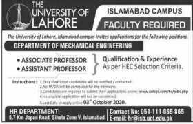University of Lahore Jobs 2020