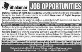 Shalamar Institute of Health Sciences Jobs 2020