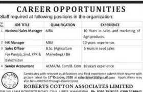 Roberts Cotton Associates Limited Jobs 2020