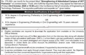 UET Abbottabad Campus Jobs 2020
