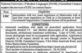 NUML Faisalabad Campus Jobs 2020