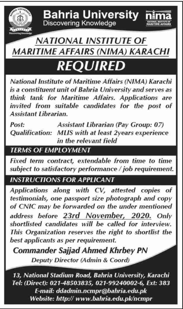 Bahria University Karachi Jobs 2020