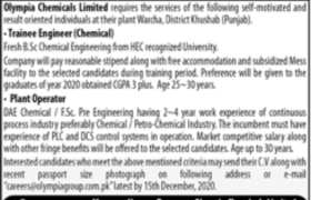 Olympia Chemical Limited Jobs 2020