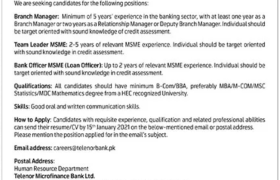 Telenor Microfinance Bank Jobs 2021