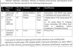 National Veterinary Laboratory Islamabad Jobs 2021