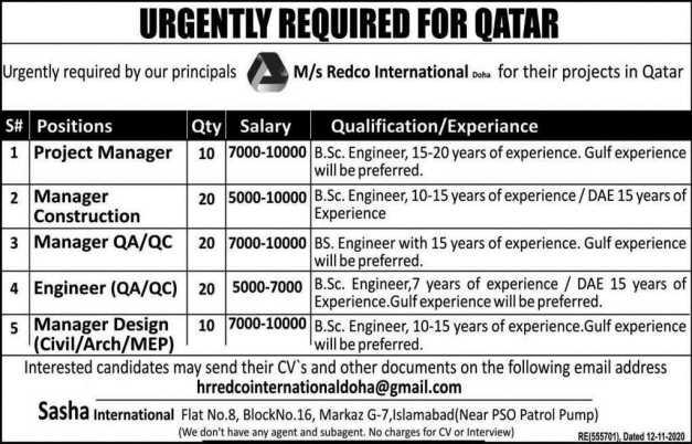 Redco International Doha Jobs 2021