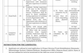 Pakistan Railways Headquarters Lahore Jobs 2021