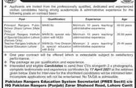 Pakistan Rangers Education System Jobs 2021