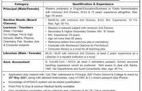 Jobs in ASF Public School & College Karachi 2021