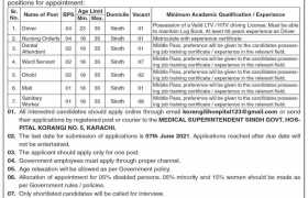 Jobs in Sindh Govt Hospital Korangi No 5 2021