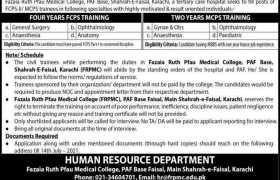 Fazaia Ruth Pfau Medical College Jobs 2021