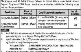University of Education Lahore Jobs 2021