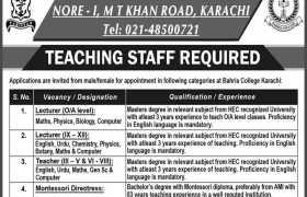 Bahria College Karachi Jobs 2021