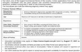 Finance Trainee Officer Required in Karachi 2021